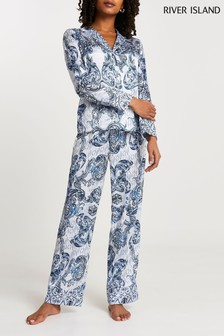 RI Bedrucktes Pyjamahemd, Blau
