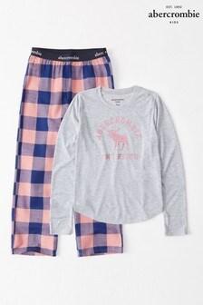 Set pijama Abercrombie & Fitch albastru/roz
