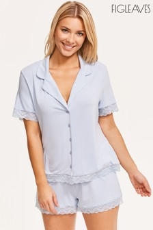 Figleaves Blue Camelia Lace Trim Pyjama Top And Short Set