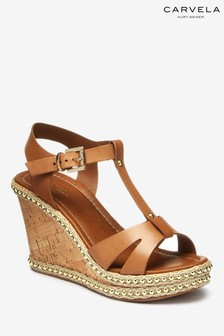 Carvela Tan Leather Karoline Wedge