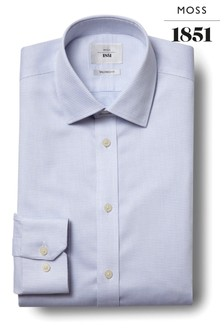 Moss 1851 Tailored Fit Sky Single Spot Zero Iron Shirt