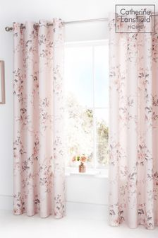 Catherine Lansfield Pink Canterbury Floral Eyelet Curtains