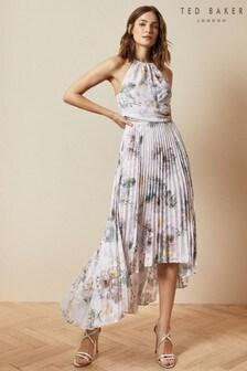 Ted Baker Pink Daniiey Woodland Pleated Maxi Dress