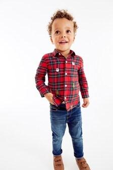 Рубашка в клетку с длинным рукавом и новогодней вышивкой (3 мес.-7 лет)