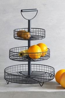 Темно-серая3-уровневая подставка для фруктов и овощей