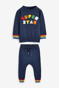 Knitted Super Star Jumper And Trousers Set (3mths-7yrs)