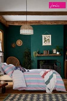 Joules Lost Garden Stripe Cotton Duvet Cover and Pillowcase Set