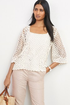 Square Neck Crochet Top