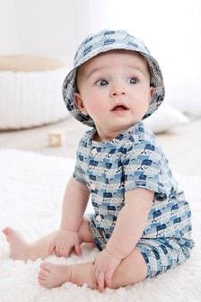 クジラ柄 ロンパース & 帽子セット (0 か月~3 歳)