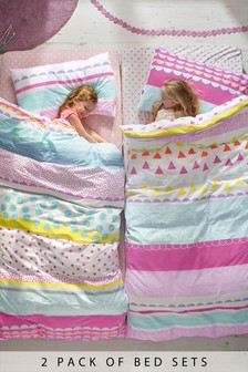 2 Pack Bright Geo Pop Reversible Duvet Cover And Pillowcase Set