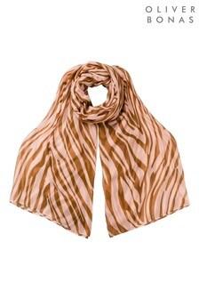 Oliver Bonas粉色斑馬印花輕量圍巾