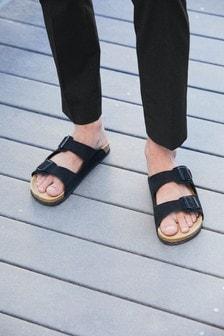 Skórzane sandały z dwiema klamrami