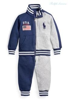 חליפת ספורט שלRalph Lauren בצבע כחול כהה/אפור