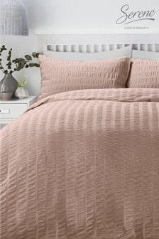 Serene Seersucker Duvet Cover And Pillowcase Set