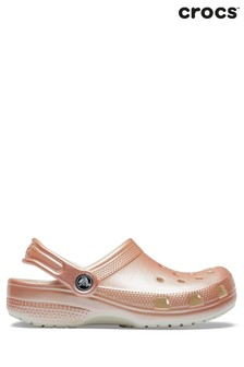 Розово-золотистые сабо металлик Crocs