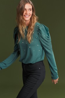 Embellished Pearl Puff Sleeve Top