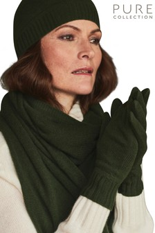 Pure Collection Green Cashmere Gloves