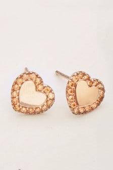 עגילי כסף צמודים עם זירקוניה קובית בצורת לב