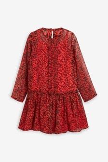 Szyfonowa sukienka z nadrukiem (3-16 lat)