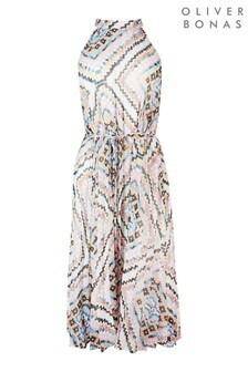 Oliver Bonas White Mosaic Pleat Midi Dress