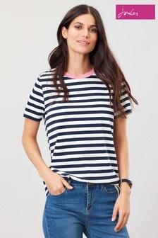 T-shirt à col ras du cou à manches courtes Joules Selma bleu