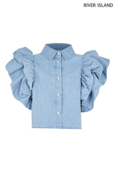River Island Denim Flutter Sleeve Shirt