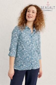 חולצה של Seasalt Cornwall דגם Lino Garden Schooner Larissa בכחול