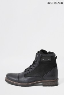 River Island Grey Dark Mix Material Boots