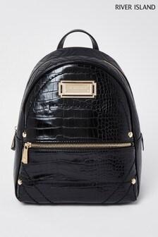 River Island Black Croc Backpack