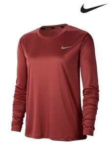 Czerwona koszulka do biegania z długim rękawem Nike Miler