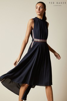 Ted Baker Blue Damsia Sleeveless Dip Hem Midi Dress