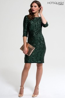 HotSquash Bottle Green Sequin Dress