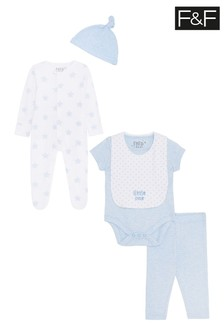 F&F Blue/White Newborn Five Piece Set