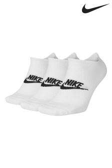 Lot de 3 paires de chaussettes invisibles Nike Heritage blanches