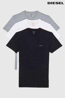 Diesel® White/Black/Grey Underwear T-Shirts Three Pack
