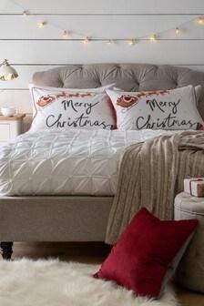 Set of 2 White Merry Christmas Pillowcases
