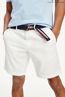 Tommy Hilfiger White Brooklyn Light Twill Belted Shorts