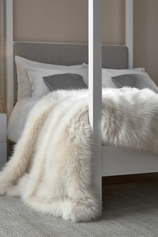 Cream Long Faux Fur Throw