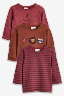 T-Shirts mit Waldtiermotiven, 3er-Pack (0Monate bis 2Jahre)