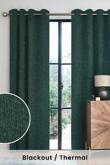 Green Heavyweight Super Thermal Chenille Eyelet Curtains