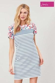 Joules Cream Riviera Print Short Sleeve Jersey Dress