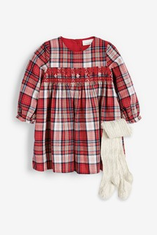 Свободное платье в клетку с вышивкой и колготки (0 мес. - 2 лет)
