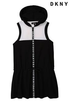 DKNY Kleid mit Kapuze, Schwarz