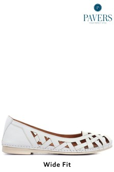 Pavers Ladies White Cut Out Leather Ballerina Pumps