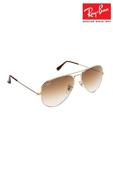 Ray-Ban® Rose Gold Aviator Large Metal Sunglasses