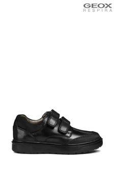 Geox Riddock zwartleren jongensschoenen met dubbel riempje