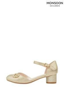 Monsoon Hallie Zweiteiliger Schuh mit Herzdetail, Goldfarben