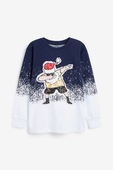 Santa Flippy Sequin T-Shirt (3-16yrs)
