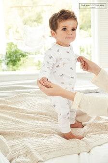 The White Company White Safari Print Zip Sleepsuit