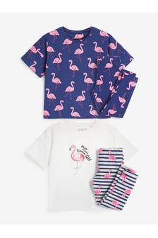 2 Pack Sequin Flamingo Legging Pyjamas (3-16yrs)
